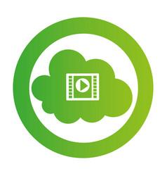 color circular emblem with video cloud service vector image