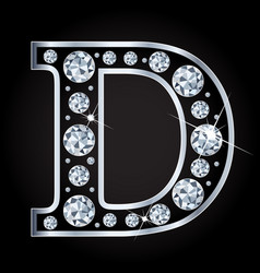 d letter made with diamonds isolated on vector image