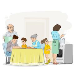 family preparing dinner vector image