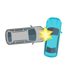 cartoon car crash road accident vector image