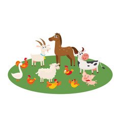 farm animals grazing in the pasture grazing on vector image vector image
