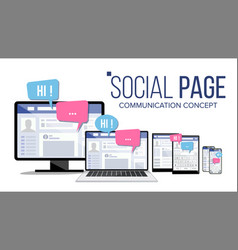 social page on computer monitor laptop tablet vector image