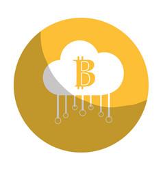 Sticker cloud data center with bicoin symbol vector