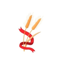 Two stalks of ripe barley with red ribbon icon vector