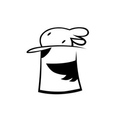 bunny in a magic hat outline vector image