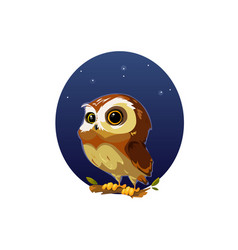 digital funny cartoon owl vector image vector image