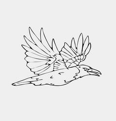 Hand-drawn pencil graphics small bird vector