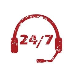 Red grunge support logo vector image