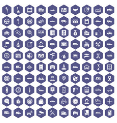 100 auto icons hexagon purple vector image