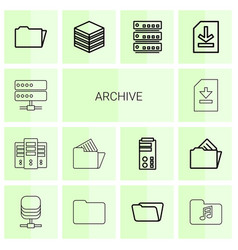 14 archive icons vector