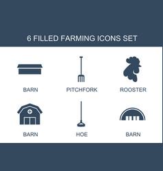 6 farming icons vector image