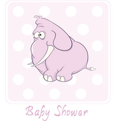 A baby shower card with a little pink elephant vector