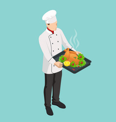 A restaurant chef cooks a christmas turkey vector