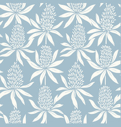 Abstract flowers hand drawn seamless blue pattern vector