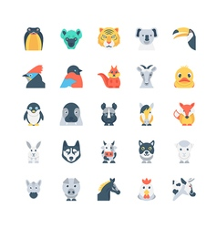 Animals and Birds Colored Icons 4 vector