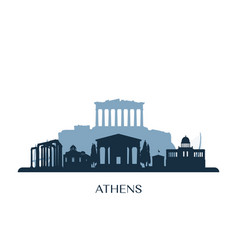 athens skyline monochrome silhouette vector image