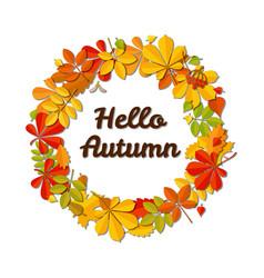 autumn falling leaf wreath and text hello autumn vector image