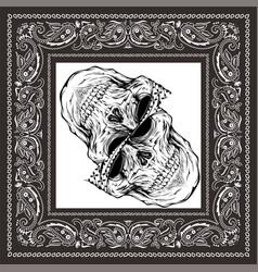 Bandana skull black white vector