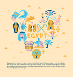 banner with egypt symbols in flat style vector image