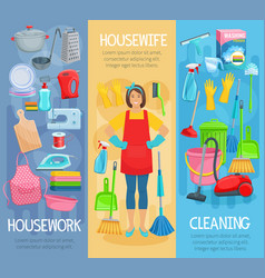 banners for home housework cleaning washing vector image