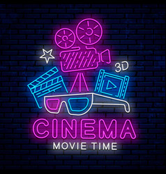 beautiful neon sign for cinema vector image