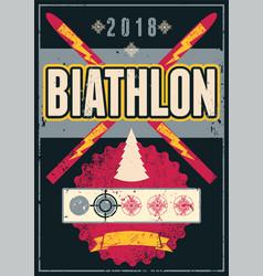 biathlon typographic vintage grunge style poster vector image