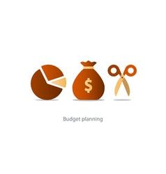 Budget cut scissors financial knowledge pencil and vector