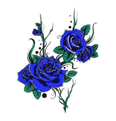 Bunch of blue roses with leaves and flowers vector