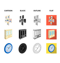 cabinet shelving with books and documents frames vector image