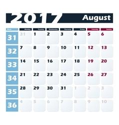 Calendar 2017 August design template Week vector