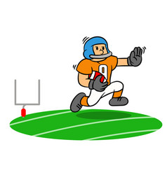 cartoon american football player running on the vector image