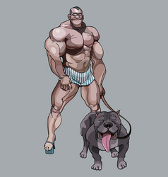 Cartoon funny man bodybuilder in shorts and with a vector