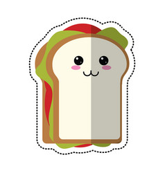 Cartoon sandwich tasty food vector