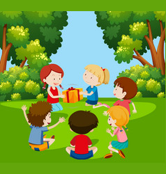children play pass the parcel vector image