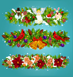 christmas garland with xmas bell greeting card vector image