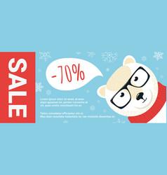 christmas sale promo cartoon polar bear vector image
