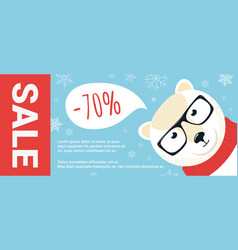 christmas sale promo cartoon polar bear with vector image