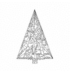 Christmas tree coloring page hand drawn abstract vector