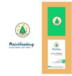christmas tree creative logo and business card vector image