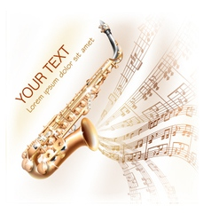 Classical saxophone on musical notes background vector