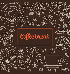 coffee line icons background vector image