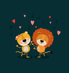 Color background with couple of lioness and lion vector