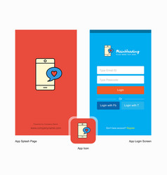 Company love chat splash screen and login page vector