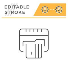 credit card atm editable stroke line icon vector image