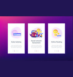 Cyberbullying app interface template vector