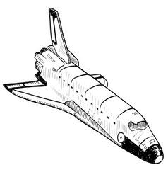Doodle space shuttle vector