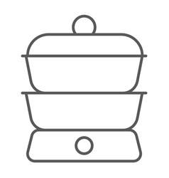 double boiler thin line icon kitchen and cooking vector image