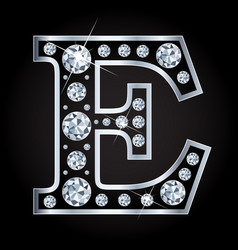 E letter made with diamonds isolated on vector