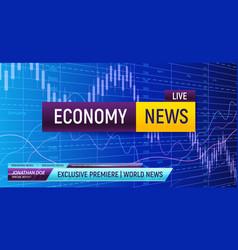 Economy news screen background vector