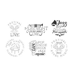 Festival live concert hand drawn badges set vector